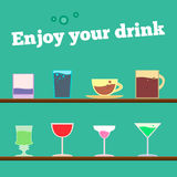 Vector set of goblets, cups, glass with drink on bar regiment Royalty Free Stock Photos
