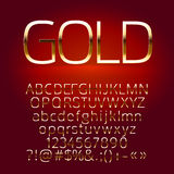 Vector set of gold alphabet letters, symbols, numbers Stock Photography