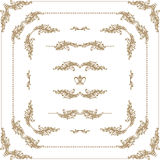 Vector set of gold decorative borders, frame. Vector set of decorative hand drawn border, divider, frame with floral elements for design of invitation, greeting Royalty Free Stock Photo