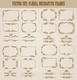 Vector set of gold decorative borders, frame. Vector set of decorative hand drawn border, divider, frame with floral elements for design of invitation, greeting Royalty Free Stock Images
