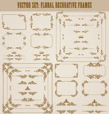 Vector set of gold decorative borders, frame. Vector set of decorative hand drawn border, divider, frame with floral elements for design of invitation, greeting Stock Photos