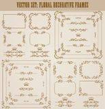 Vector set of gold decorative borders, frame. Vector set of decorative hand drawn border, divider, frame with floral elements for design of invitation, greeting Stock Image