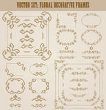 Vector set of gold decorative borders, frame. Vector set of decorative hand drawn border, divider, frame with floral elements for design of invitation, greeting Royalty Free Stock Photography