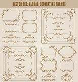 Vector set of gold decorative borders, frame. Vector set of decorative hand drawn border, divider, frame with floral elements for design of invitation, greeting Stock Photo