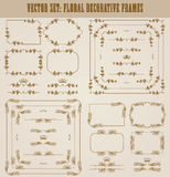 Vector set of gold decorative borders, frame. Vector set of decorative hand drawn border, divider, frame with floral elements for design of invitation, greeting Royalty Free Stock Image