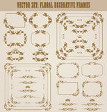 Vector set of gold decorative borders, frame. Vector set of decorative hand drawn border, divider, frame with floral elements for design of invitation, greeting Stock Photography