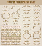 Vector set of gold decorative borders, frame. Vector set of decorative hand drawn border, divider, frame with floral elements for design of invitation, greeting Royalty Free Stock Photos