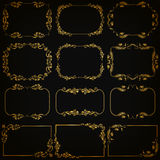 Vector set of gold decorative borders, frame. Vector set of decorative hand drawn elements, border, frame with floral elements for design of invitation, greeting Stock Photos