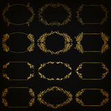 Vector set of gold decorative borders, frame Stock Photos