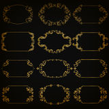 Vector set of gold decorative borders, frame. Vector set of decorative hand drawn elements, border, frame with floral elements for design of invitation, greeting Royalty Free Stock Image