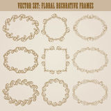 Vector set of gold decorative borders, frame. Vector set of decorative hand drawn elements, border, frame with floral elements for design of invitation, greeting Stock Images