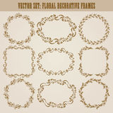 Vector set of gold decorative borders, frame. Vector set of decorative hand drawn elements, border, frame with floral elements for design of invitation, greeting Royalty Free Stock Photos