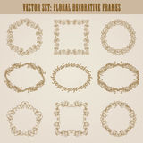 Vector set of gold decorative borders, frame. Vector set of decorative hand drawn elements, border, frame with floral elements for design of invitation, greeting Royalty Free Stock Images