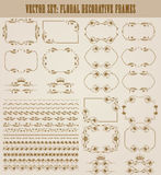 Vector set of gold decorative borders, frame. Vector set of decorative hand drawn seamless border, divider, frame with floral elements, crowns for design Stock Photo