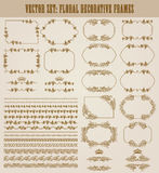 Vector set of gold decorative borders, frame. Vector set of decorative hand drawn seamless border, divider, frame with floral elements, crowns for design Stock Photography