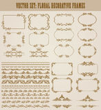 Vector set of gold decorative borders, frame. Vector set of decorative hand drawn seamless border, divider, frame with floral elements, crowns for design Royalty Free Stock Photos
