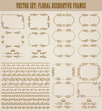Vector set of gold decorative borders, frame. Vector set of decorative hand drawn seamless border, divider, frame with floral elements, crowns for design Royalty Free Stock Photography