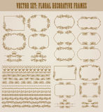 Vector set of gold decorative borders, frame. Vector set of decorative hand drawn seamless border, divider, frame with floral elements, crowns for design Royalty Free Stock Image