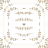Vector set of gold decorative borders, frame stock illustration