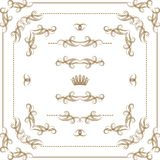 Vector set of gold decorative borders, frame. Vector set of gold decorative horizontal floral elements, corners, borders, crown. Page decoration Stock Photography