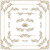 Vector set of gold decorative borders, frame. Vector set of gold decorative horizontal floral elements, corners, borders, crown Page decoration Stock Photos