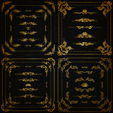 Vector set of gold decorative borders, frame Royalty Free Stock Photos