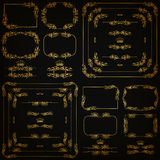 Vector set of gold decorative borders, frame Royalty Free Stock Photo