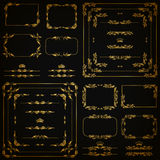 Vector set of gold decorative borders, frame Stock Images