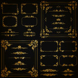 Vector set of gold decorative borders, frame Royalty Free Stock Photography