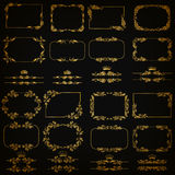 Vector set of gold decorative borders, frame Royalty Free Stock Image