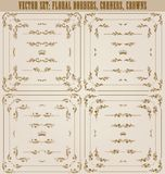 Vector set of gold decorative borders, frame. Vector set of gold decorative horizontal floral elements, corners, borders, frame, dividers, crown. Page decoration Royalty Free Stock Photos