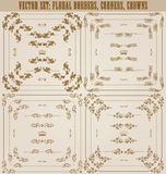 Vector set of gold decorative borders, frame. Vector set of gold decorative horizontal floral elements, corners, borders, frame, dividers, crown. Page decoration Royalty Free Stock Image