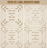 Vector set of gold decorative borders, frame. Vector set of gold decorative horizontal floral elements, corners, borders, frame, dividers, crown for retro design Royalty Free Stock Images