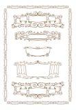 Vector set of gold decorative horizontal floral Stock Photo
