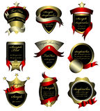 Vector set of gold framed labels Royalty Free Stock Photo