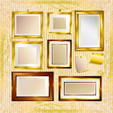 Vector set of gold frames Royalty Free Stock Images