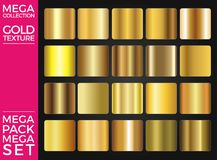 Vector Set of Gold Gradients, Golden Squares Collection, Textures Group Royalty Free Stock Images