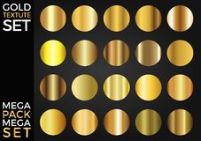 Vector Set of Gold Gradients, Golden Squares Collection, Textures Group. Eps 10 stock illustration