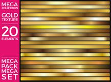 Vector Set of Gold Gradients, Golden Squares Collection, Textures Group. Eps 10 royalty free illustration