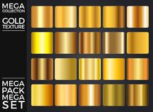 Vector Set of Gold Gradients, Golden Squares Collection, Textures Group Royalty Free Stock Photo