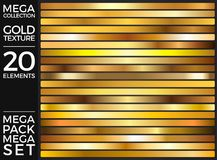 Vector Set of Gold Gradients, Golden Squares Collection, Textures Group Royalty Free Stock Image