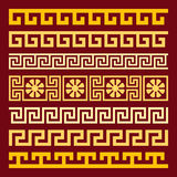 Vector set gold Greek ornament Meander Royalty Free Stock Photos