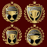 Vector set of gold metallic templates for winner of the championship Stock Images