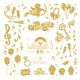 Vector set of gold signs for Valentine's Day design. Stock Photography