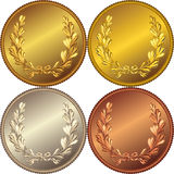 vector Set of the gold, silver and bronze coins royalty free illustration