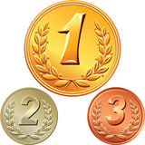 Vector Set of gold, silver and bronze medals. Gold, silver and bronze medal for winning the competition with the image of a laurel wreath and the first, second Royalty Free Stock Image