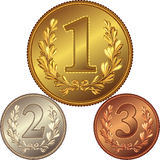 vector Set of gold, silver and bronze medals Stock Photos