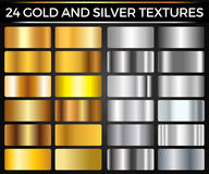 Vector Set of Gold and Silver Gradients, Gold and Silver Squares Collection, Textures Group. Eps 10 Royalty Free Stock Photography