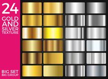 Vector Set of Gold and Silver Gradients, Gold and Silver Squares Collection, Textures Group. Eps 10 royalty free illustration