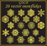 Vector set gold snowflakes on black background Stock Image